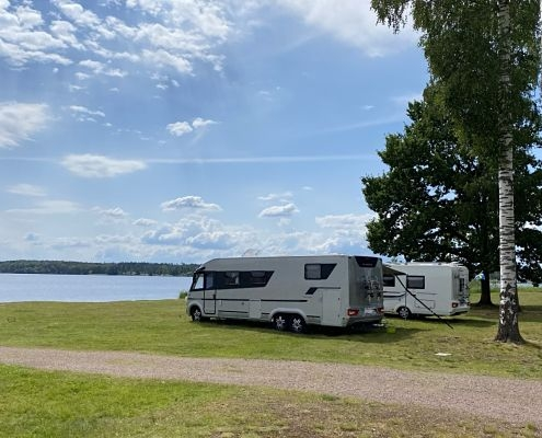 Camping with lake view