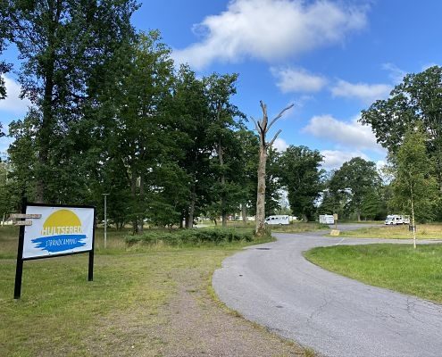 Entrance to the campsite and the motorhome parking