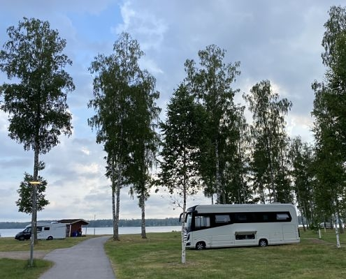 Large camping pitches by the water