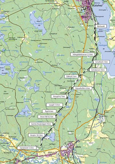 Karta för dressin Hultsfred till Målilla
